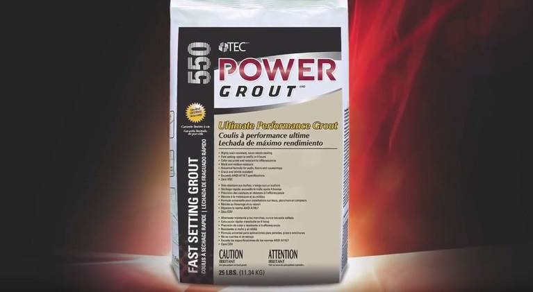 Product photo of TEC® Power Grout®, the only cement-based grout to exceed 10,000 psi compressive strength achieving industry leading grout strength.